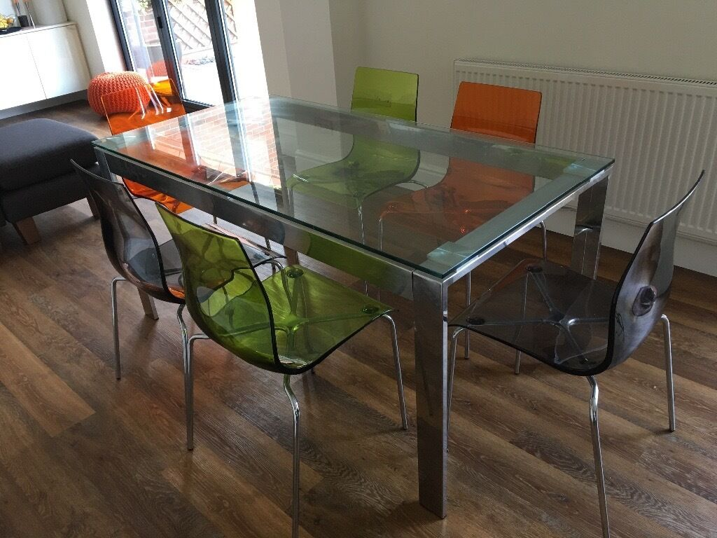 Folding side table john lewis - John Lewis Glass And Chrome Dining Table And 6 Coloured Gel Chairs