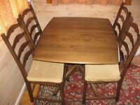 ERCOL EXTENDING DINING TABLE and 4 CHAIRS