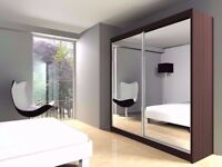 BLACK WALNUT AND WHITE COLORS! New Berlin Full Mirror 2 Door Sliding Wardrobe in Black Walnut White