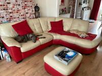 Leather corner sofa and pouf