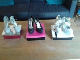 Shoes size 5 (eu 38), 3 pairs, only worn once for photo shoot so in near perfect condition