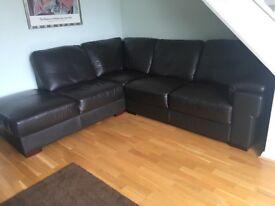 Dark brown leather corner suite. Very good condition.