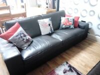 3 seater sofa in brown leather from Ikea Kivik range