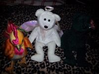 3 TY Beanie Babies - Angel, Bear, Rooster