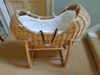 Moses basket / wicker crib. Mamas & Papas comes with with rocking stand and mattress. £30