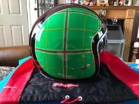 Green Tartan Ltd Edition Blacks open Face Helmet