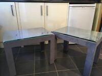 Matching Two Purple/Grey Bespoke Coffee Tables, Suede material with Glass Top on each.
