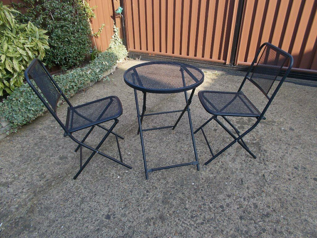 3 piece bistro patio garden set black metal metal design