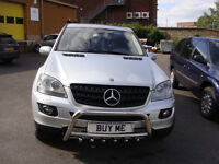 LHD LEFTHAND DRIVE MERCEDES ML 280 CDI 2006 AUTO SILVER/BLACK LEATHER, FRONT BULL BAR