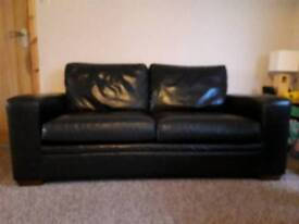 Large 2 seater and single seater leather sofas
