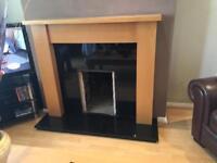 Black granite fireplace