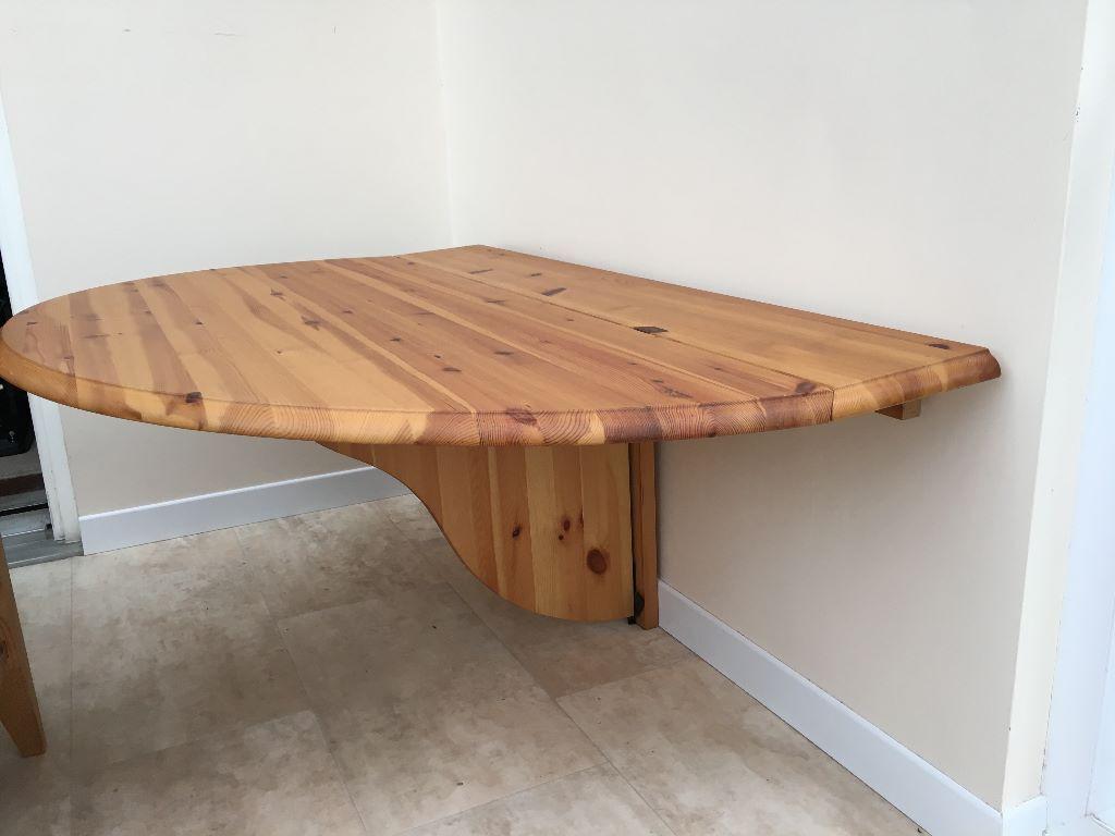 Wall mounted semi circular ikea pine folding table - Wall mounted kitchen table ikea ...