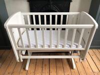 Mothercare Deluxe Gliding Crib & Mattress - White - pristine condition