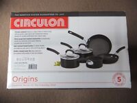 ( New and Sealed ) Circulon Origins Hard Anodised Cookware Set 5 Pieces - Black