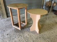 Two circular table bases, one MDF, the other pine 72 hi x 56 diam + 61 hi x 49 diam
