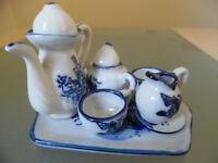 Delft miniature tea set. For Delft collectors, pottery, vintage, large dolls house item.