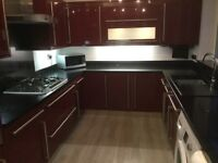 Complete kitchen: floor and wall units, worktops, sink and appliances