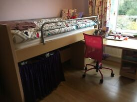 Single Bunk Bed + Mattress: Pull out Desk, Shelves, Drawers, Bookcase, Ladder