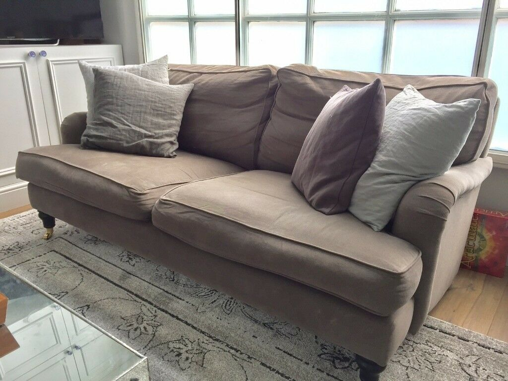 2 X Three Seat Brushed Linen Cotton Sofas In Flint Less Than