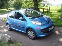 Peugeot 107, 5 door, metallic blue