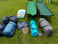 4 man tent, 4sleeping bags, foldup table, 2 beds,2 chairs,2 man tent