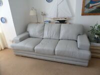 Large pale grey leather sofa