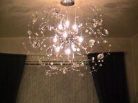 Designer NEXT Crystal Glass/Chrome SATELLITE Chandelier/Ceiling Pendant Light - £60 ono