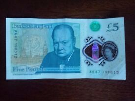 £5 , fiver , AK47 ,number 1986 12