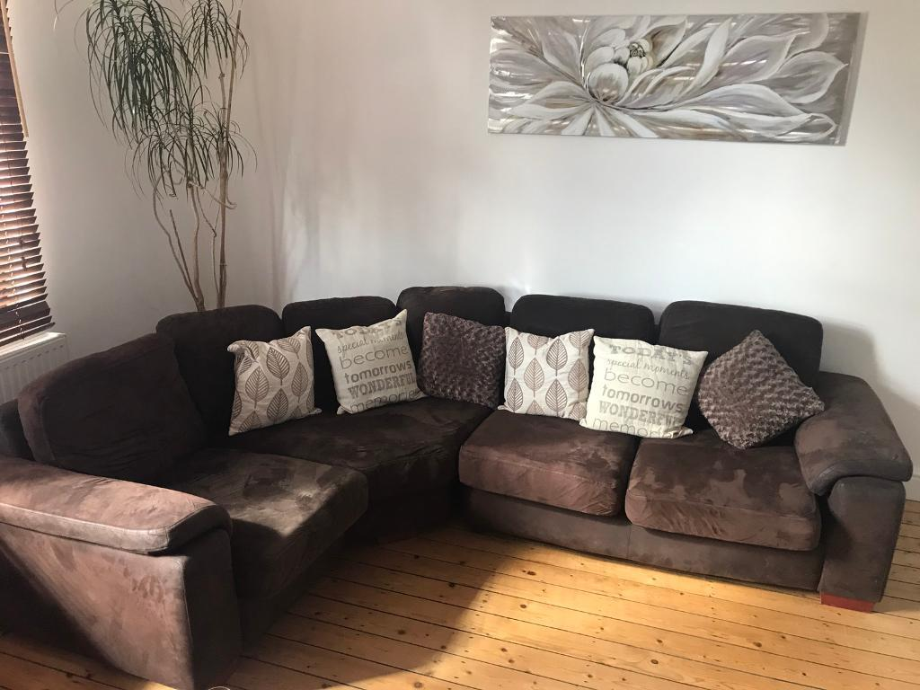 Brown Corner Sofa Cushions Not Included In Hucknall