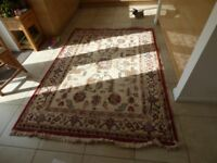 Large Rectangular Indian Rug - Cream - Overall Size 234cm by 166cm including fringing