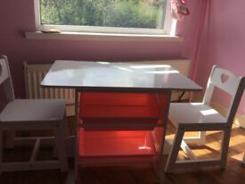 Children's desk - white wood with 2 chairs