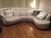 Leather Curve Corner Sofa real leather very comfy splits into two delivery is free manchester