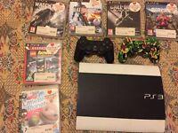 Playstation 3 SUPER SLIM 500GB W/ WHITE SKIN + 6 GAMES