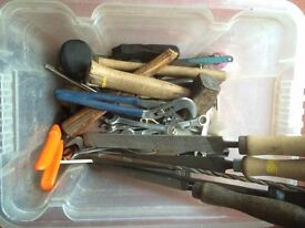 A job lot of mixed vintage tools - Various all as shown - Old hand tools Drill Bits Various