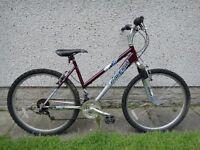 Raleigh Mantis ladies purple bike, 26 inch wheels, 18 gears, 18 inch frame, front suspension