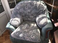 Large comfy Arm chair and matching stool for re-upholstering
