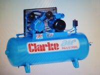 Clarke XEV16/200 O/L Industrial Air Compressor (230V) with accessories brand new unusedl