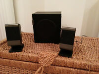 PC sterio speakers with seperate bass speaker.