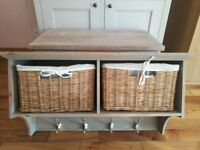 Acacia coat rack and bench with baskets, perfect storage solution for any home