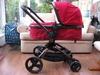 Mothercare Orb Berry Pram Pushchair travel system & Maxi Cosi car seat with Easy Base and adapter