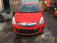 BREAKING - VAUXHALL CORSA D - FACELIFT FRONT BUMPER COMPLETE - RED - ALL PARTS AVAILABLE