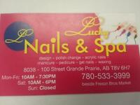 grande opening lucky nail salon& spa.780 533 3999.