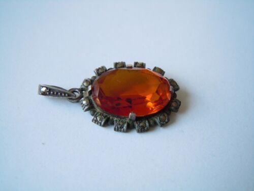 Antique 800 Silver Pendant With Marcasites + Cognac Orange Coloured Stone 0.2oz