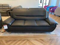 3 + 2 Ex display leather sofas - Black