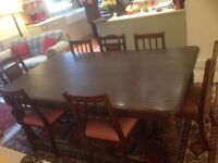 """antique dark oak dining table, excellent condition, seats 8 in comfort. 78"""" long x 45""""wide."""