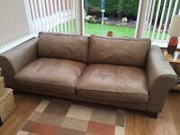 Large Brown Italian leather settee