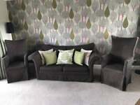 Two seater sofa bed (mattress inc) plus x2 high back chairs. QUICK SALE REQUIRED, OFFERS CONSIDERED!