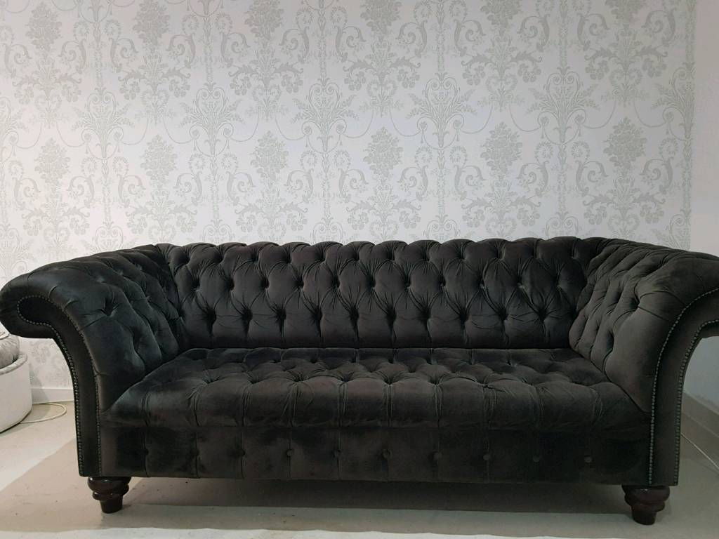 Charcoal Grey Suede Chesterfield Sofa