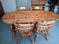 Solid Pine Table & Chairs, Solid Pine Dresser