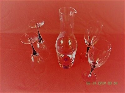 Orrefors Intermezzo Satin - Swedish Orrefors Intermezzo Satin Wine glasses and Decanter
